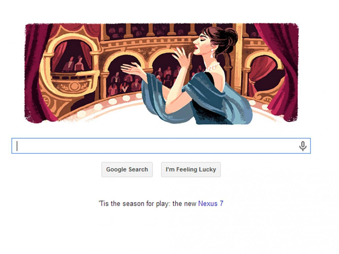 2 December 2013: Maria Callas Google Doodle celebrates 90th birthday of Greek soprano