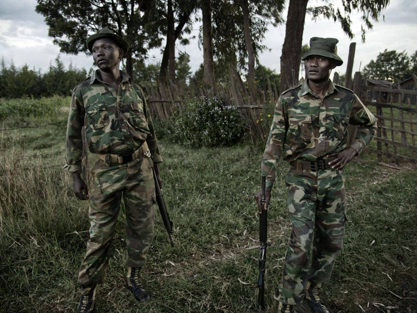 Kenya Wildlife Service rangers live on the edge of Ramuruti forest in Laikipia, Kenya where they patrol as a way to deter poachers
