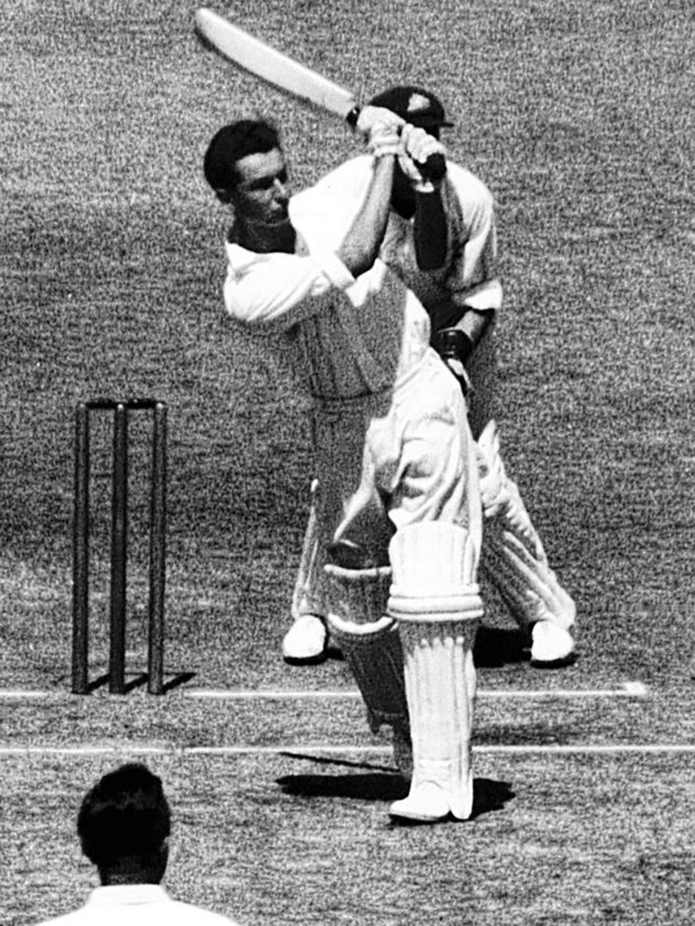 Simpson on the way to compiling a century for England against Australia in the fifth Test at Melbourne in 1950