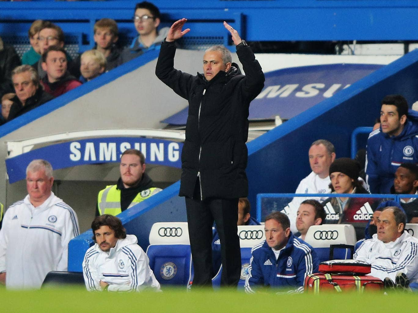 Chelsea manager Jose Mourinho reacts during his side's 3-1 win over Southampton