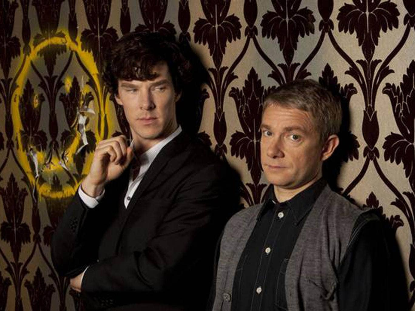 Benedict Cumberbatch and Martin Freeman as Holmes and Watson in Sherlock