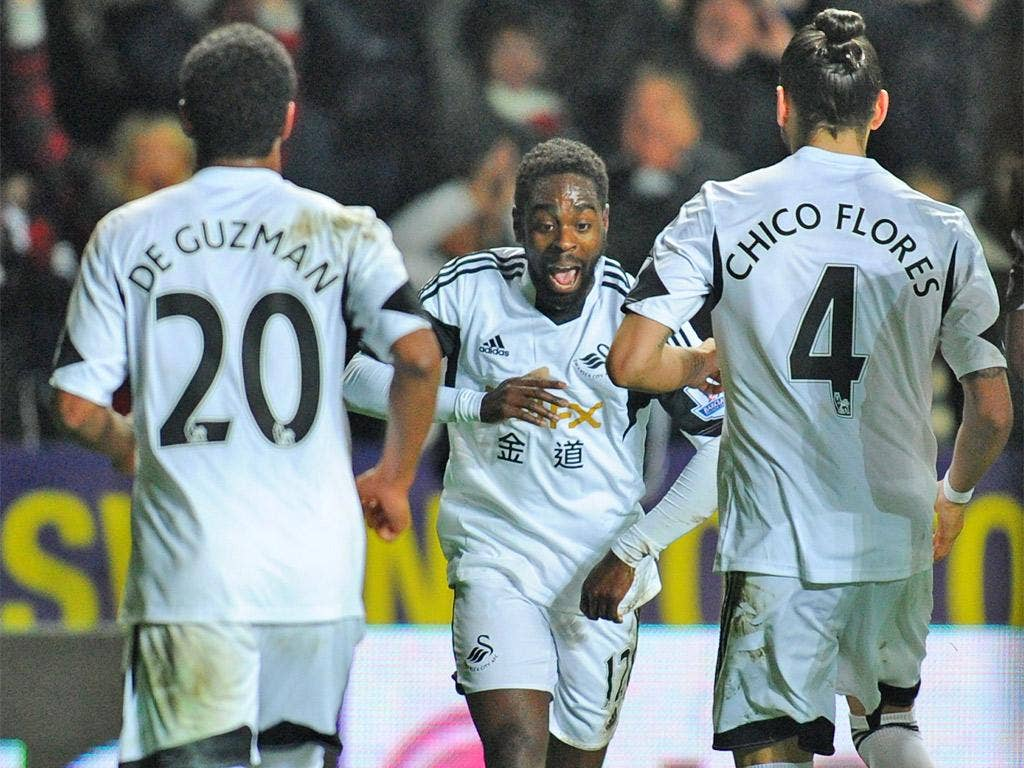 Nathan Dyer got the Swans on their way just before half-time
