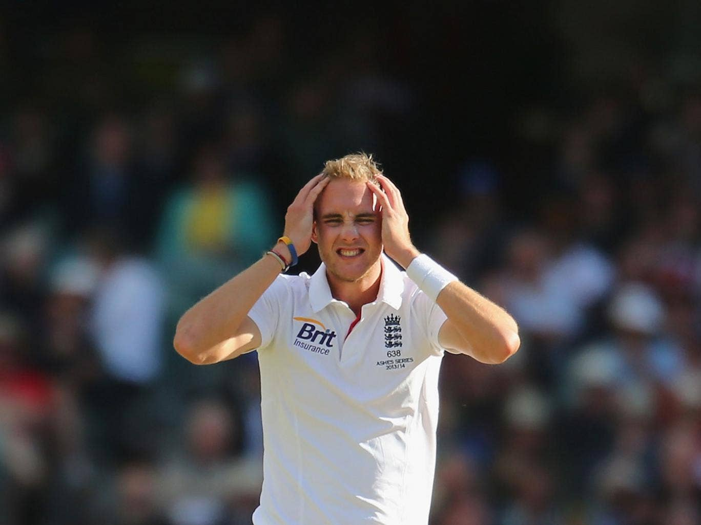 Stuart Broad shows his frustration after England drop one of three dropped catches in the final session on the first day of the second Test