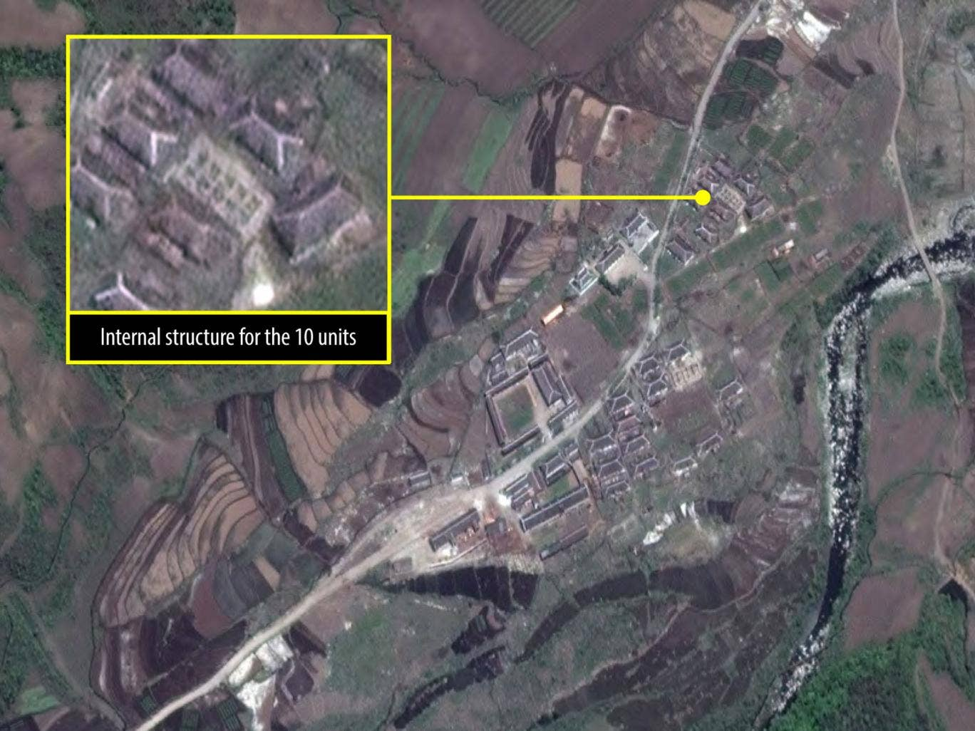 A satellite image of Camp 16, believed to be the largest North Korean gulag