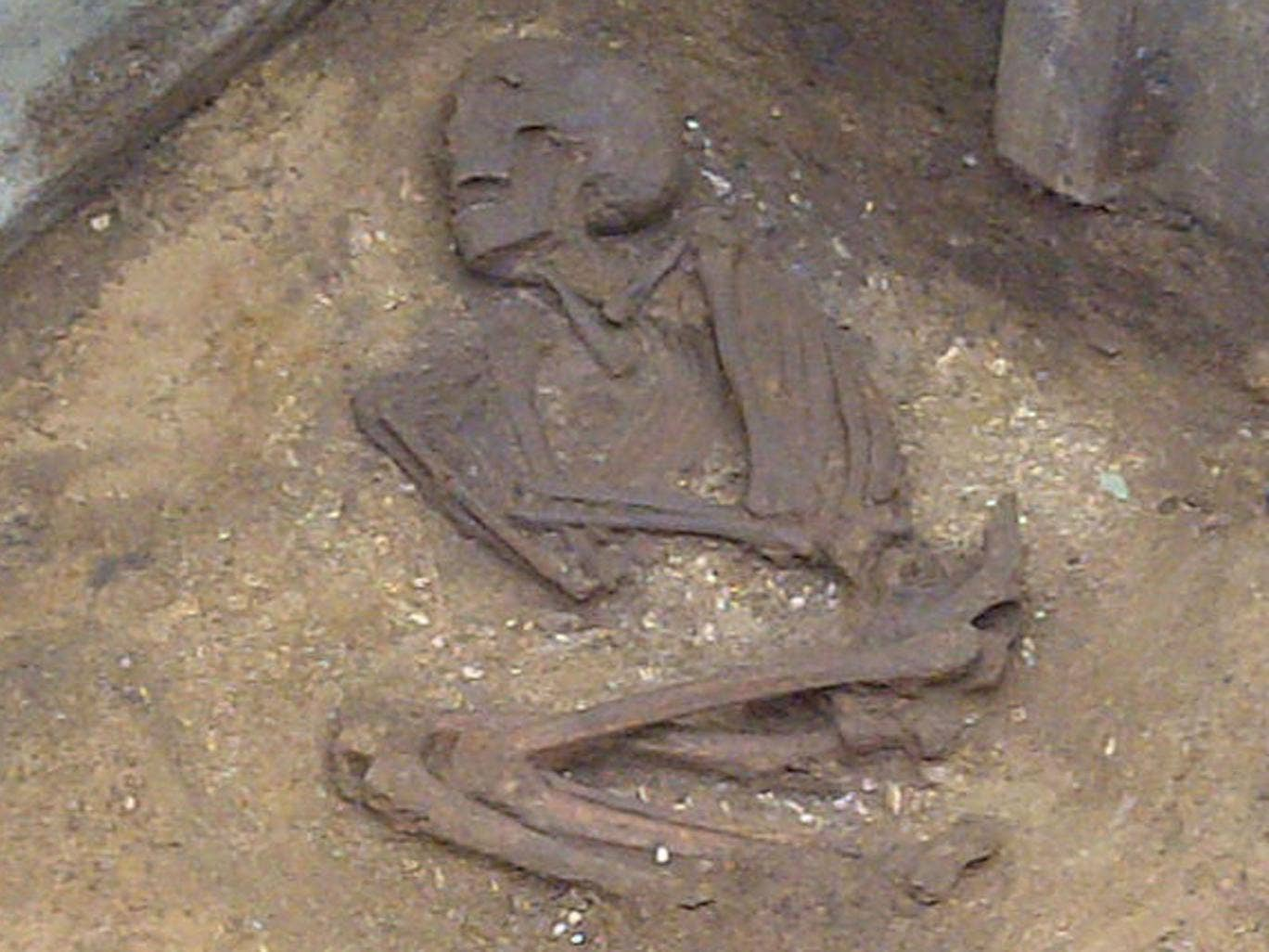The skeleton was found in a crouched or foetal position, possibly mirroring birth