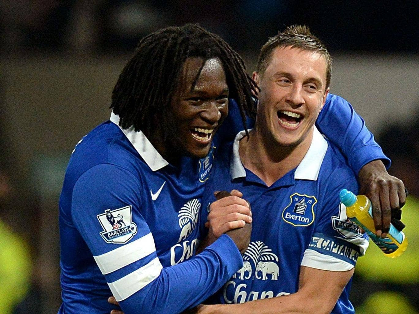 Phil Jagielka (right) celebrates victory at Old Trafford with Romelu Lukaku