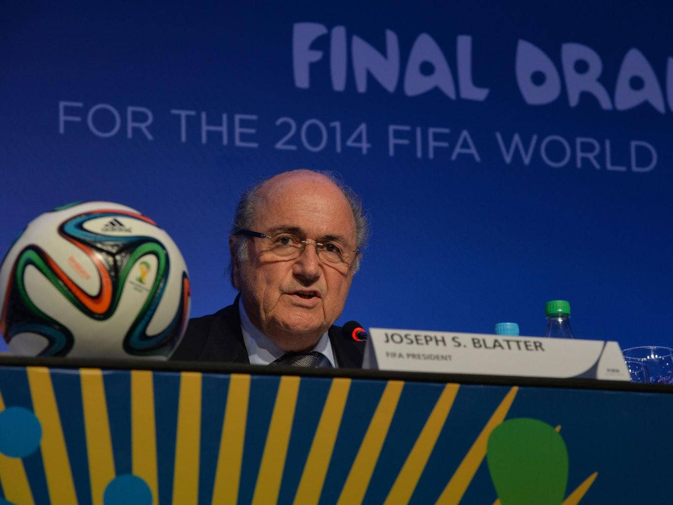Fifa president Sepp Blatter speaks in Costa do Sauipe on the eve of the 2014 World Cup final draw