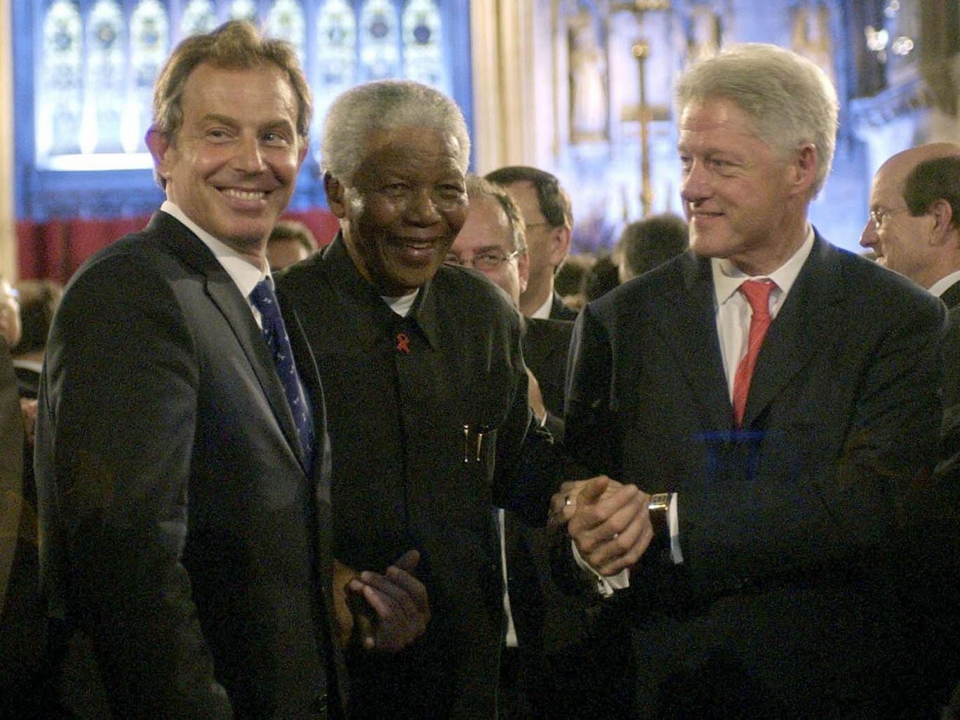 Tony Blair, Nelson Mandela and Bill Clinton in July 2003