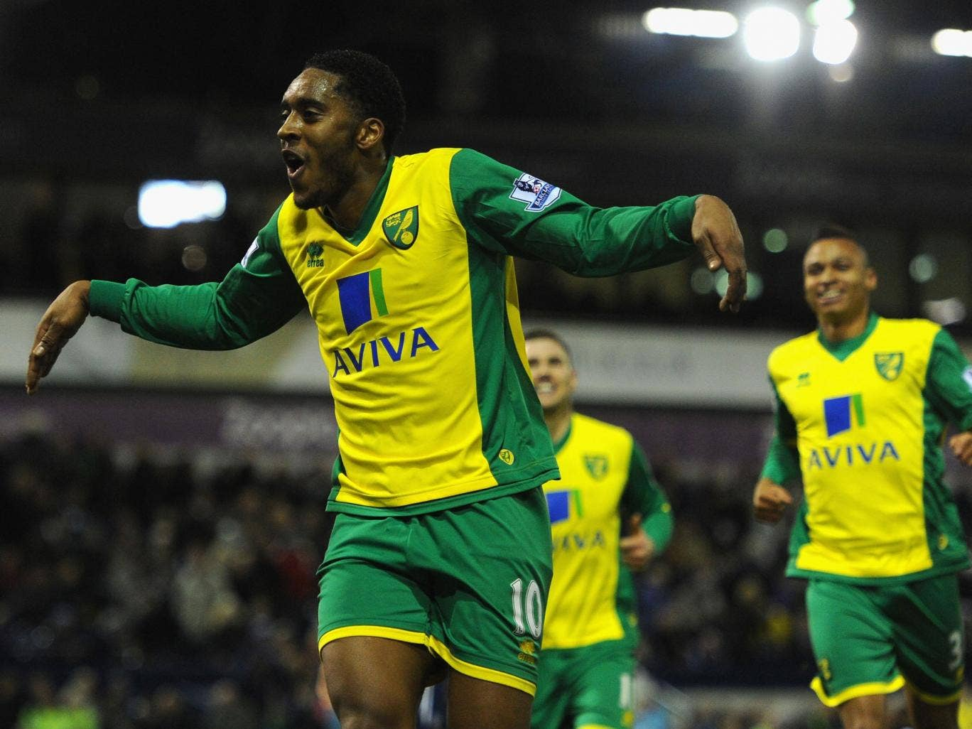 Norwich player Leroy Fer celebrates after scoring the second goal