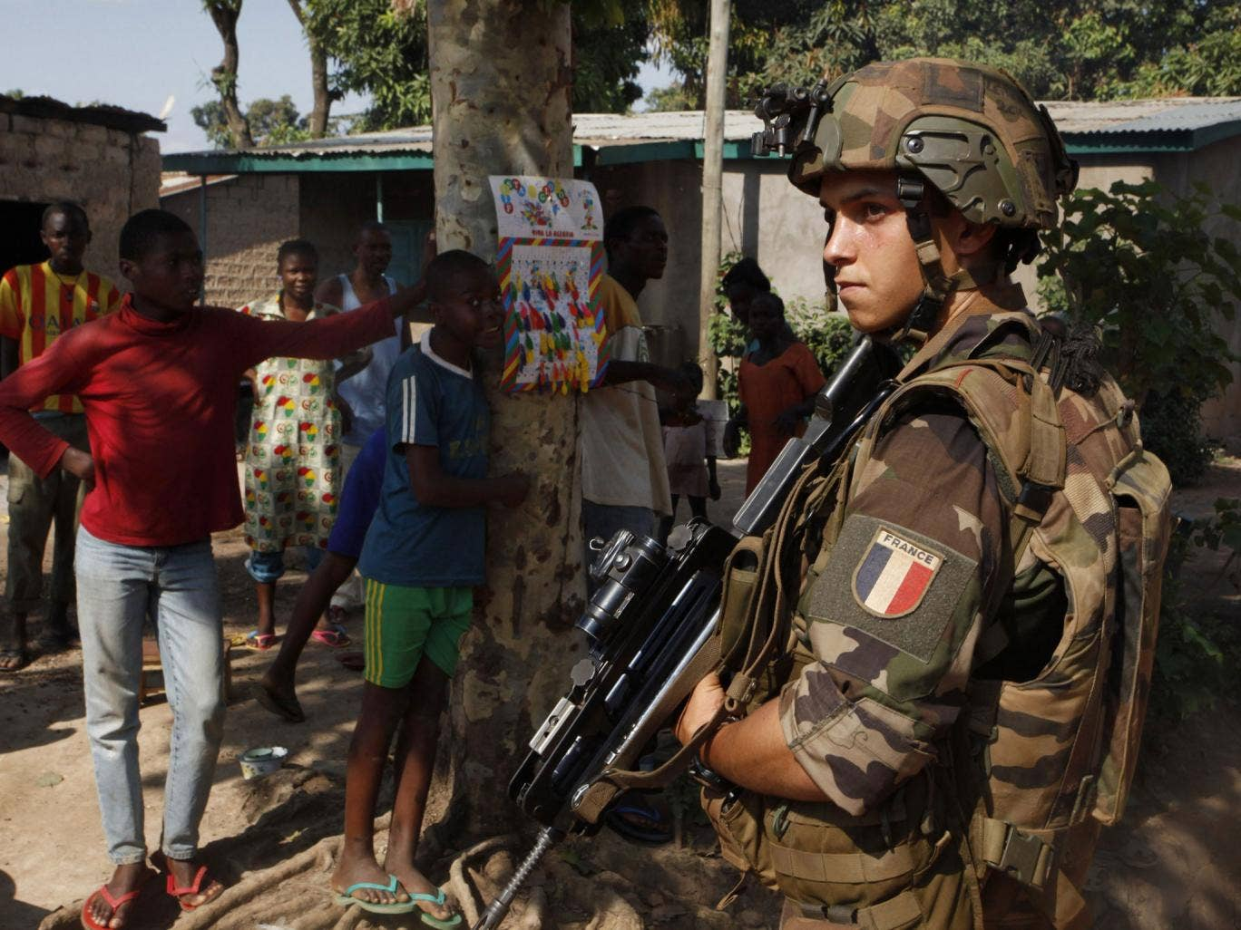 A French soldier patrols the streets of Bangui in the Central African Republic