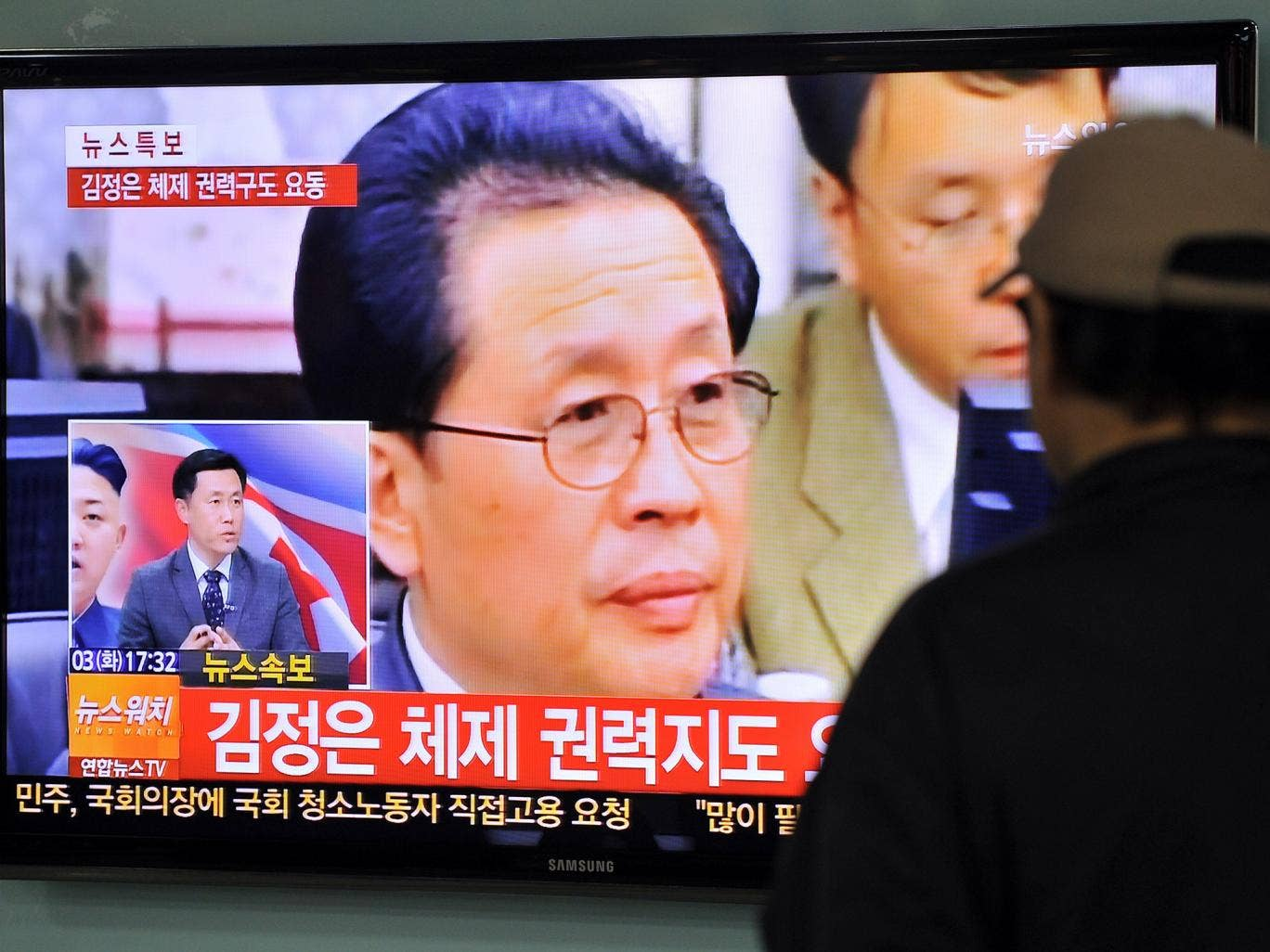 TV news about the alleged dismissal of Jang Song-Thaek, North Korean leader Kim Jong-Un's uncle, was broadcast in Seoul on 3 December 2013