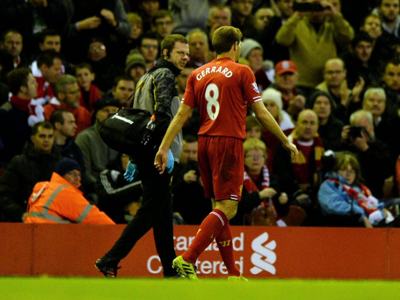 Liverpool saw Steven Gerrard limp off in the second half during the 4-1 win over West Ham