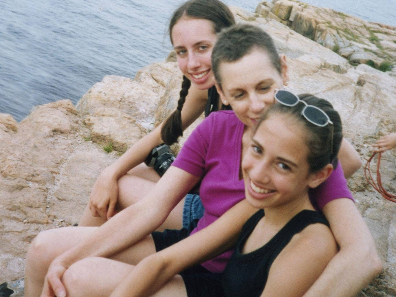 Hard times: Marsha Silver during her treatment for cancer, in a family photo with daughters Maya (left) and Daniela