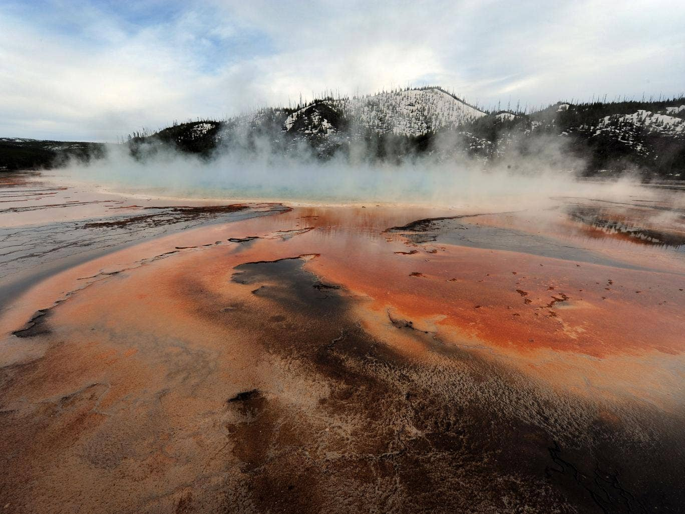 View of the 'Grand Prismatic' hot spring in the Yellowstone National Park, Wyoming on 1 June 2011