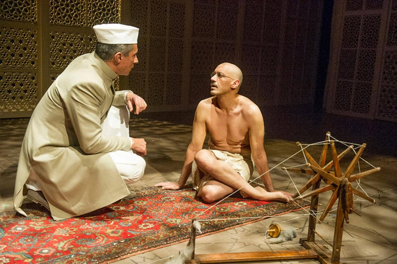 Silas Carson and Tanveer Ghani in Drawing the Line at Hampstead Theatre