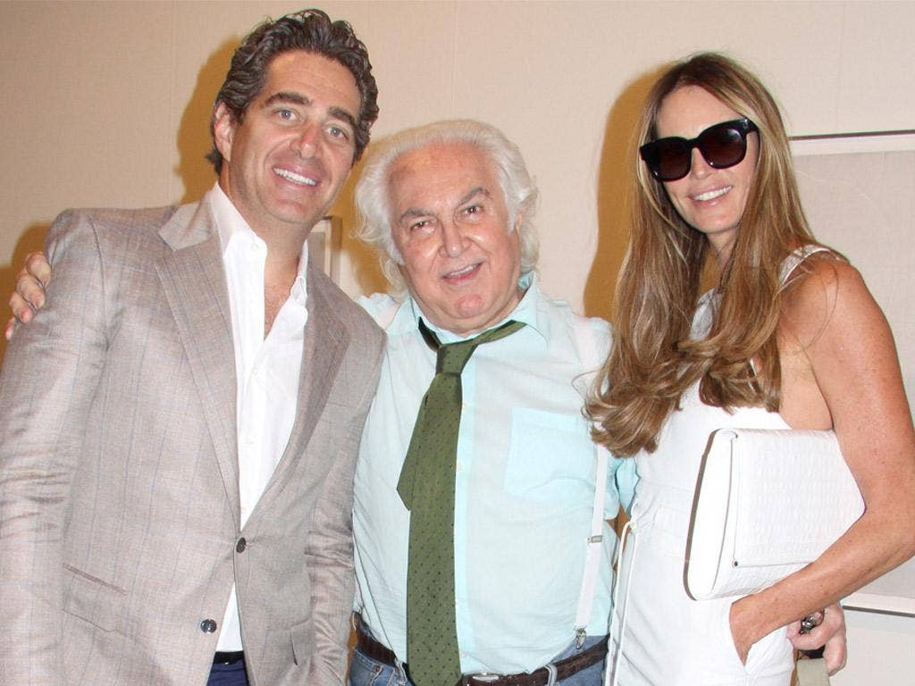 Jeffrey Soffer, left, and Elle Macpherson, with gallerist Tony Shafrazi in Miami last week
