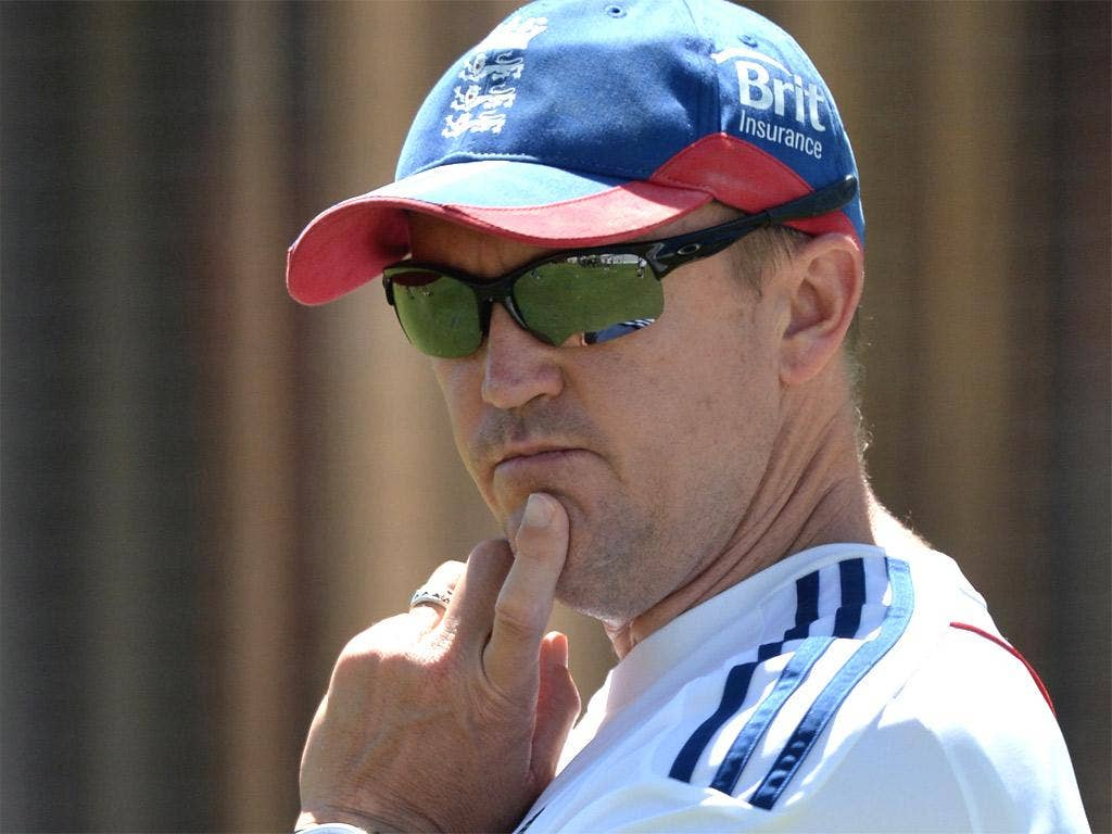 England's Andy Flower looks on during a practice session at the WACA