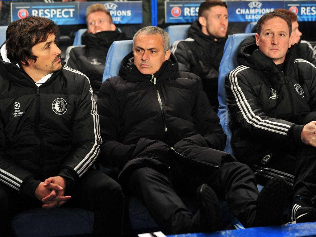 Chelsea manager Jose Mourinho watches on from the bench