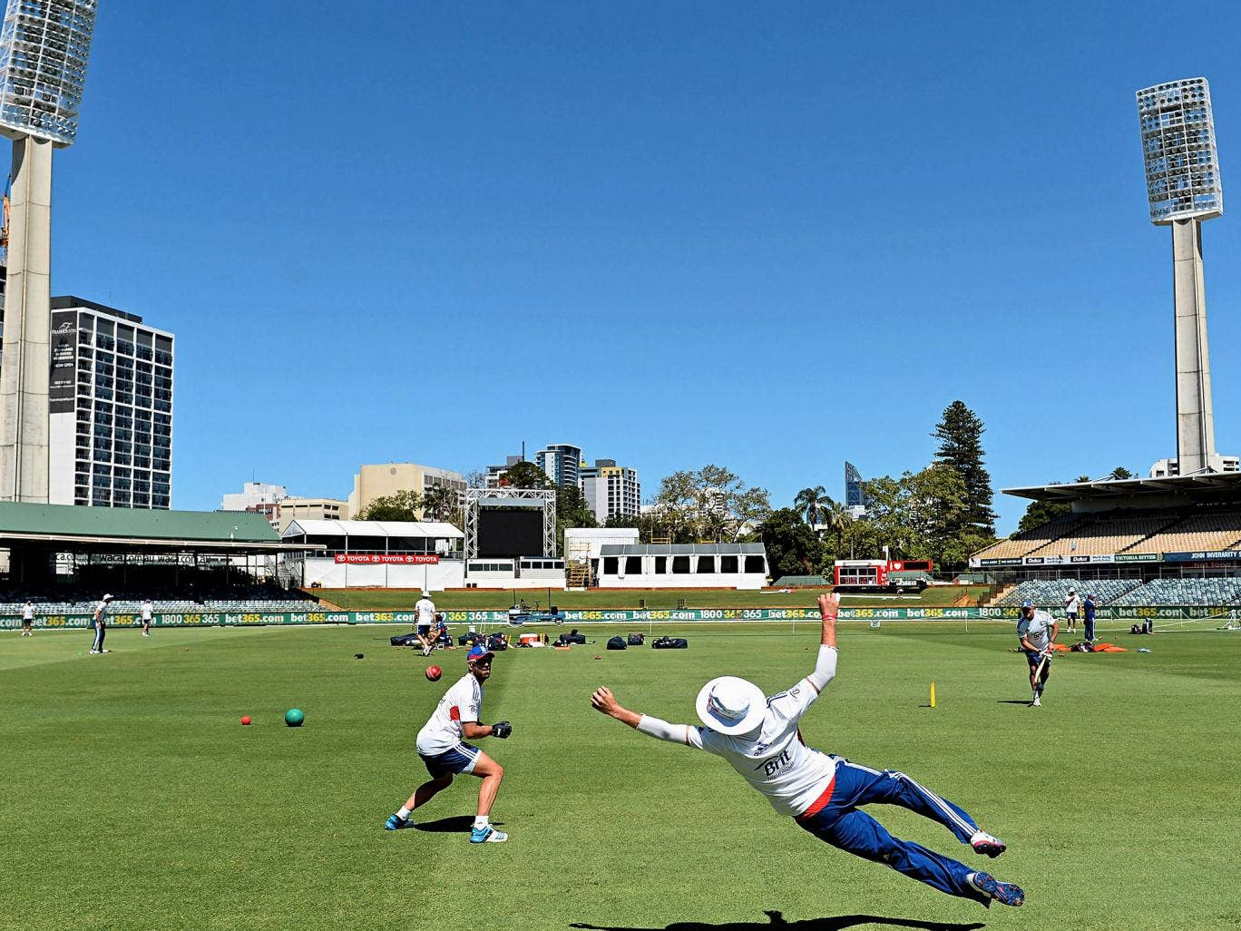 England's Matt Prior (left) and Joe Root practise at the Waca this week ahead of the third Test