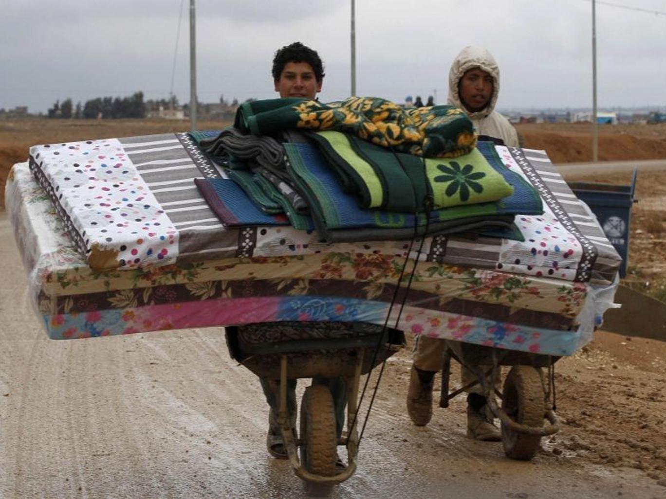 Syrian refugees at the Al Zaatari refugee camp in Jordan