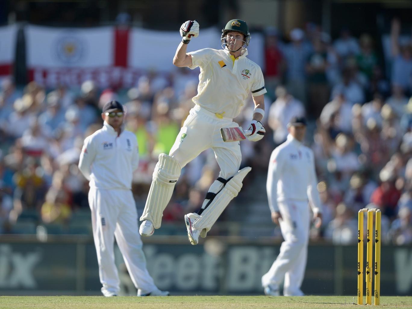 Australia batsman Steve Smith celebrates after reaching his century