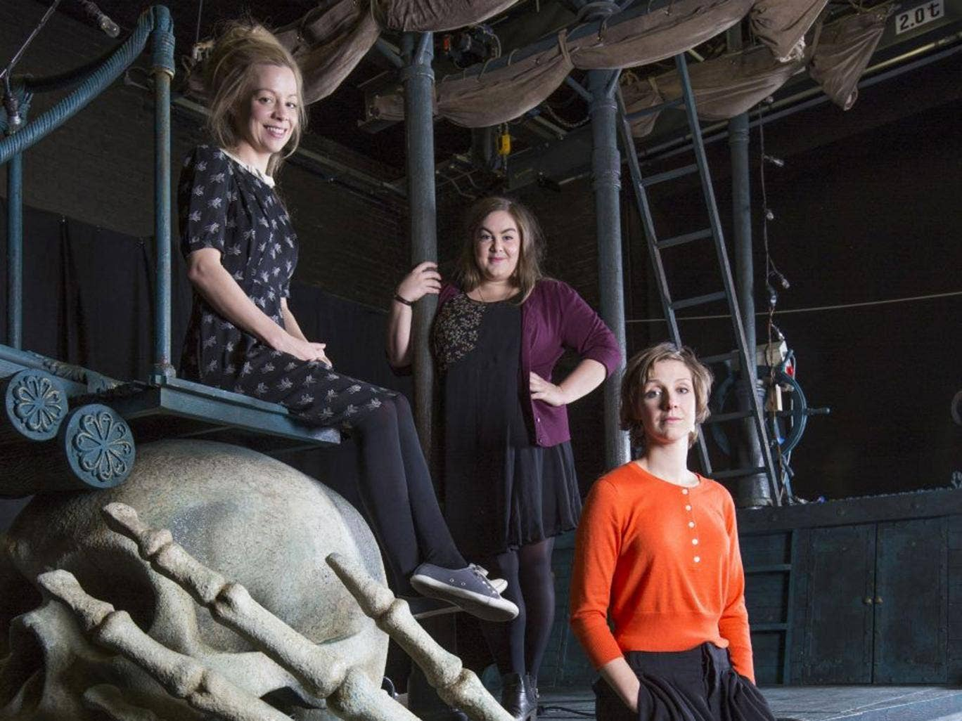 Girls on top: Playwright Ella Hickson (in orange) with Charlotte Mills, a 'badass' Tink, and Fiona Button (seated, far left) an assertive Wendy, backstage