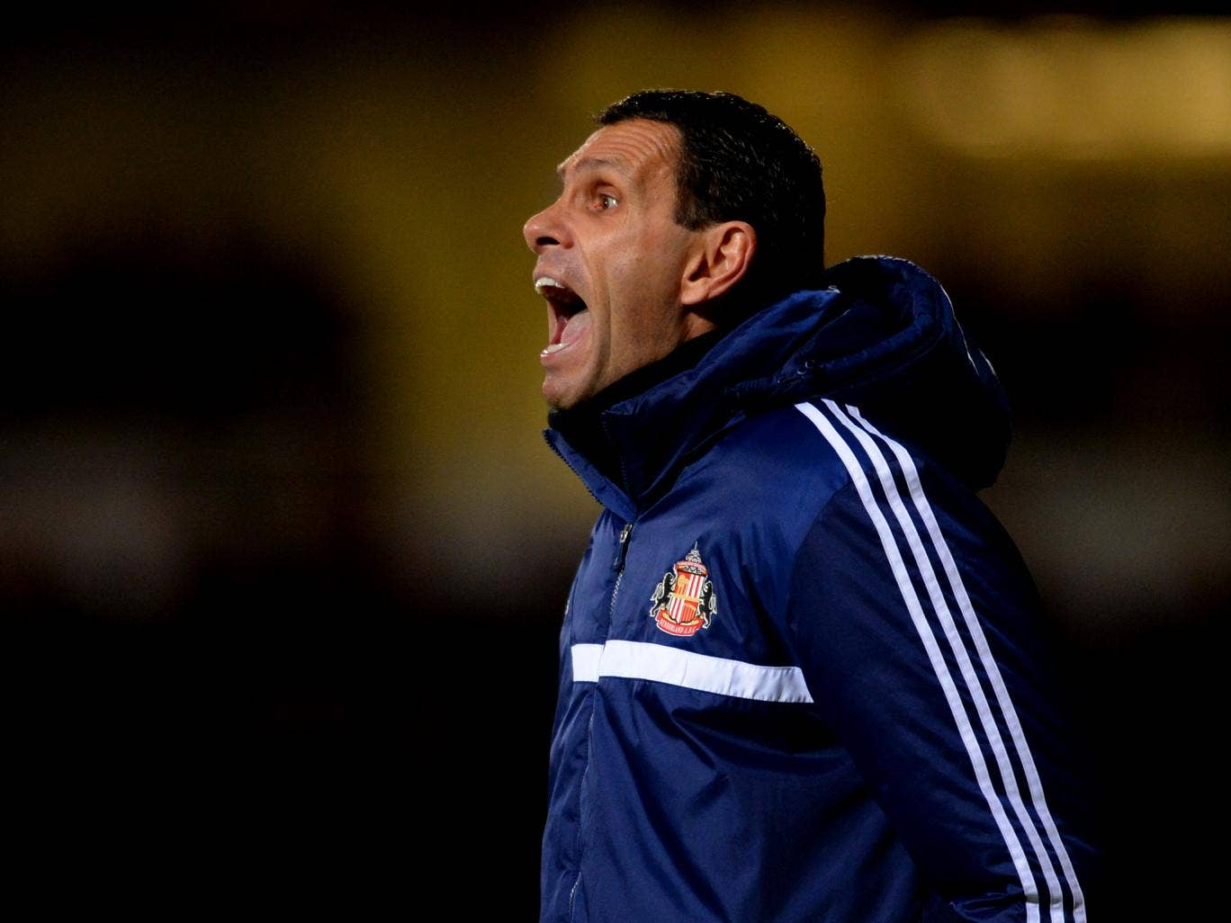 Sunderland Gus Poyet shows his frustration during the 0-0 draw with West Ham