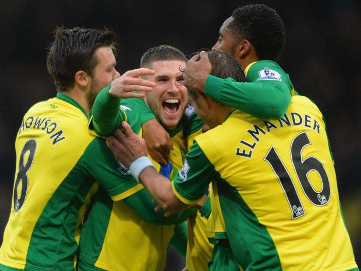 Gary Hooper celebrates his equaliser with Norwich team-mates