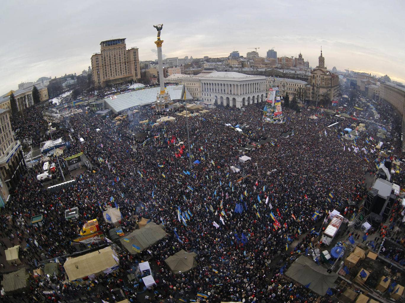 An estimated 200,000 anti-government demonstrators converge on Independence Square in central Kiev
