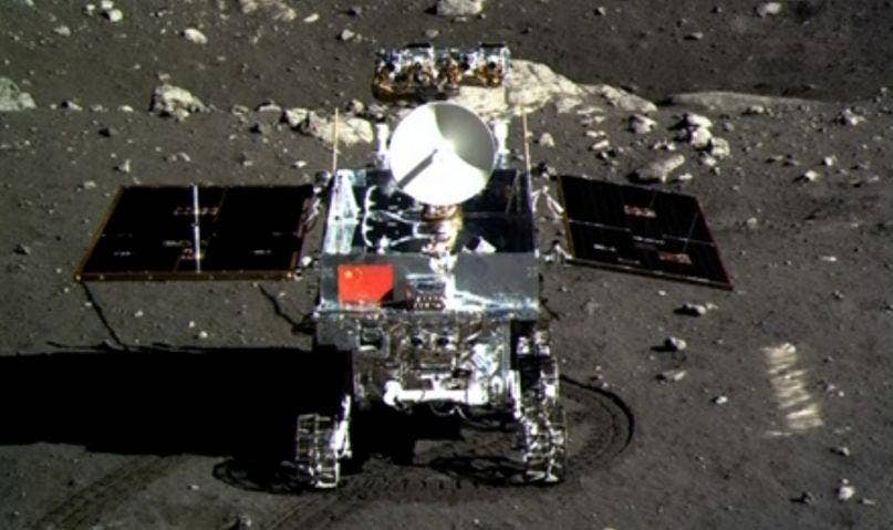A picture of the Jade Rabbit moon rover taken by the Chang'e-3 probe lander on December 15, 2013.