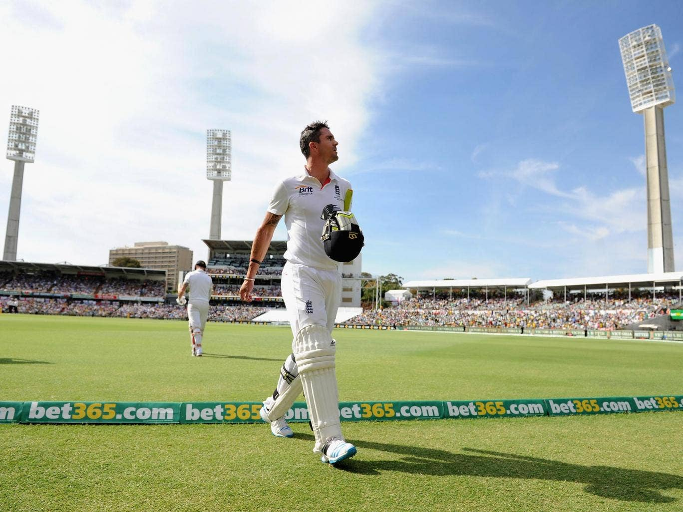 Kevin Pietersen of England leaves the field after being dismissed by Nathan Lyon of Australia during day four of the Third Ashes Test Match