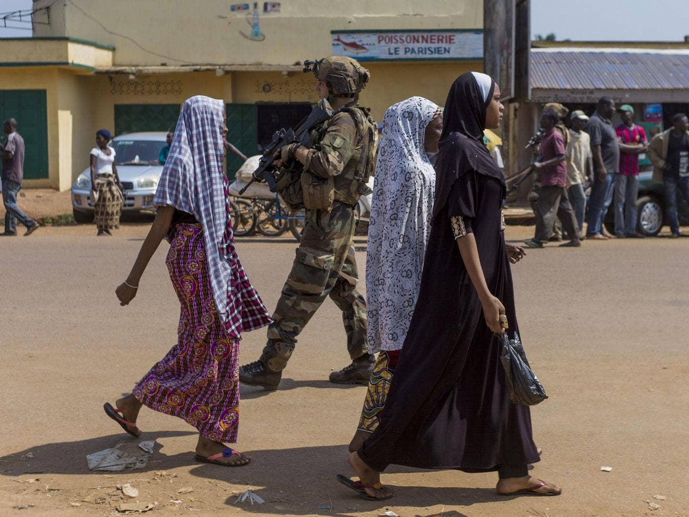 French troops patrol in a street of the Muslim PK-5 district in Bangui