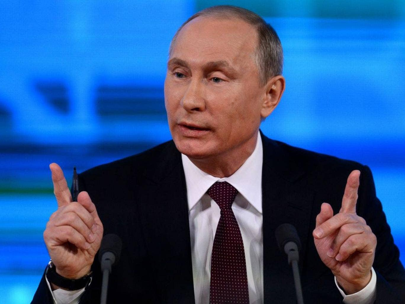Russia's President Vladimir Putin speaks at his annual press conference in Moscow on 19 December 2013