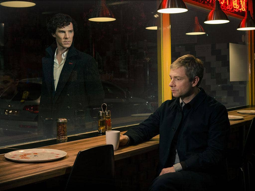 Benedict Cumberbatch and Martin Freeman in the first episode of the new seres of Sherlock