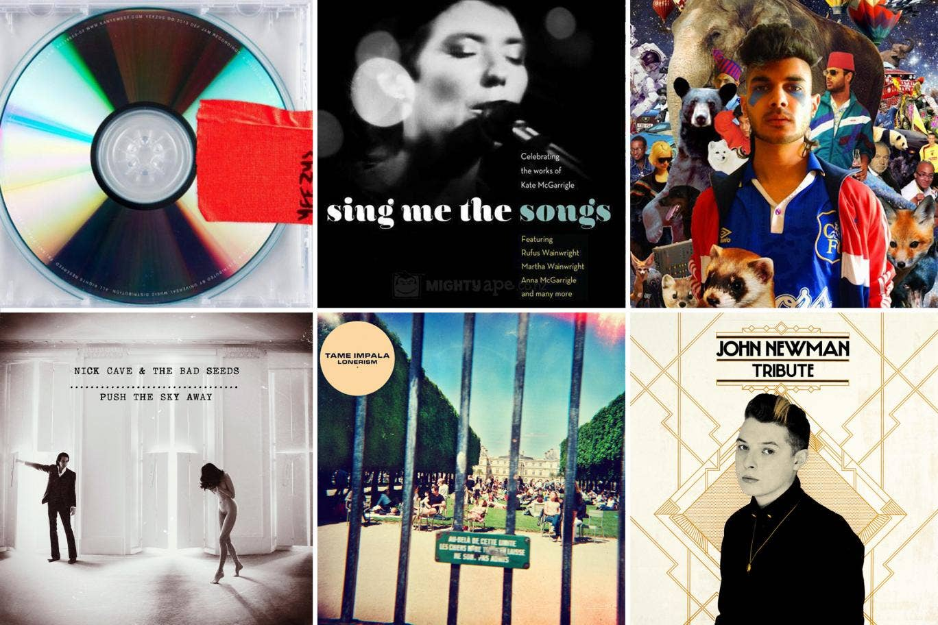 Albums of the year (from top left): Yeezus, Sing me the songs: Celebrating the works of Kate McGarrigle, Demos, Nick Cave and the Bad Seeds, Lonerism, Tribute