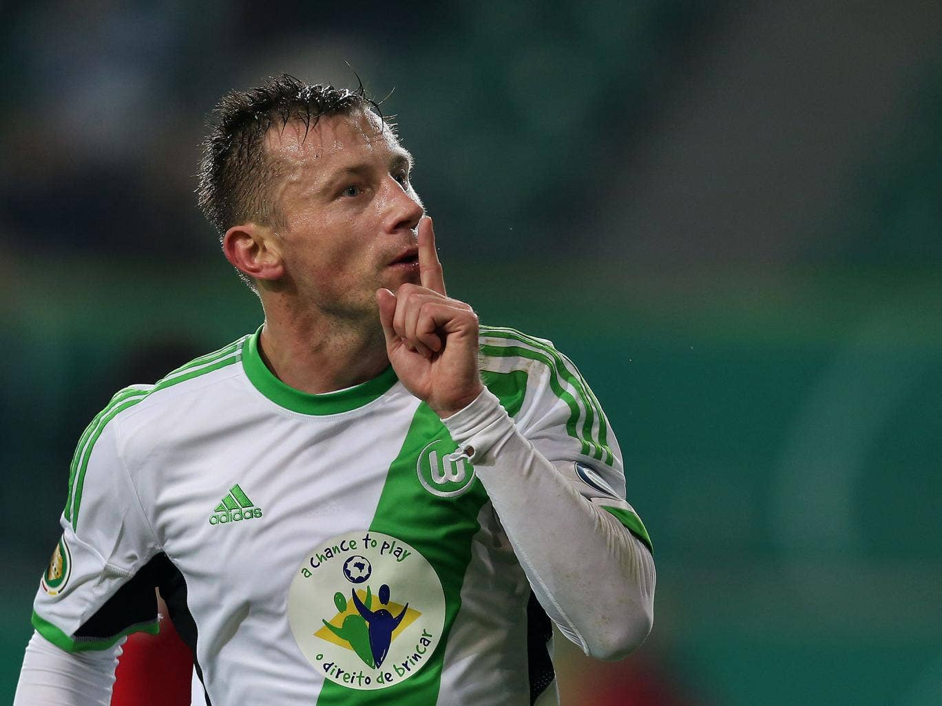 Ivica Olic of Wolfsburg celebrates his teams second goal