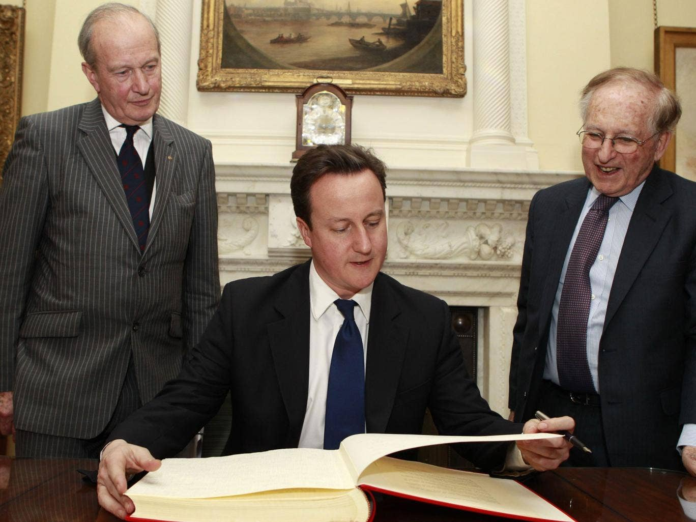 The Prime Minister in 2011 with Greville Janner to his right