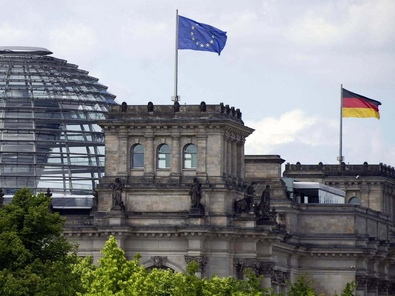 One of the towers of the Reichstag building, that hosts the Bundestag, lower house of parliament - according to Edward Snowden, some German buildings were targets of GCHQ and the NSA
