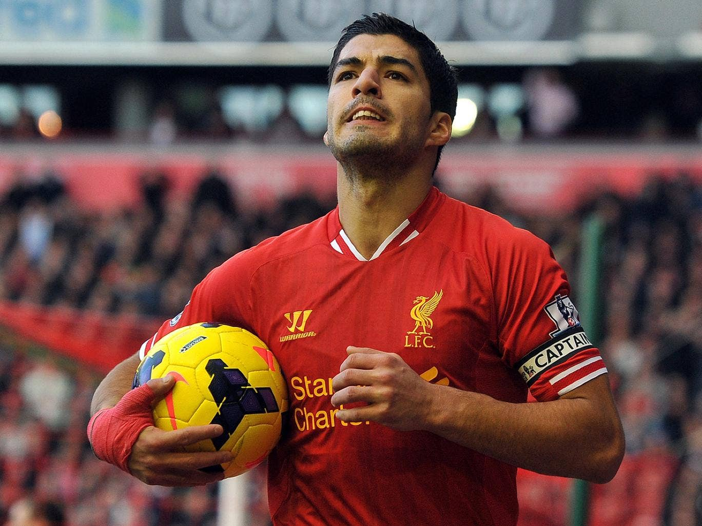 Luis Suarez has admitted his delight with his new contract although he has refused to get carried away with Liverpool's good form of late