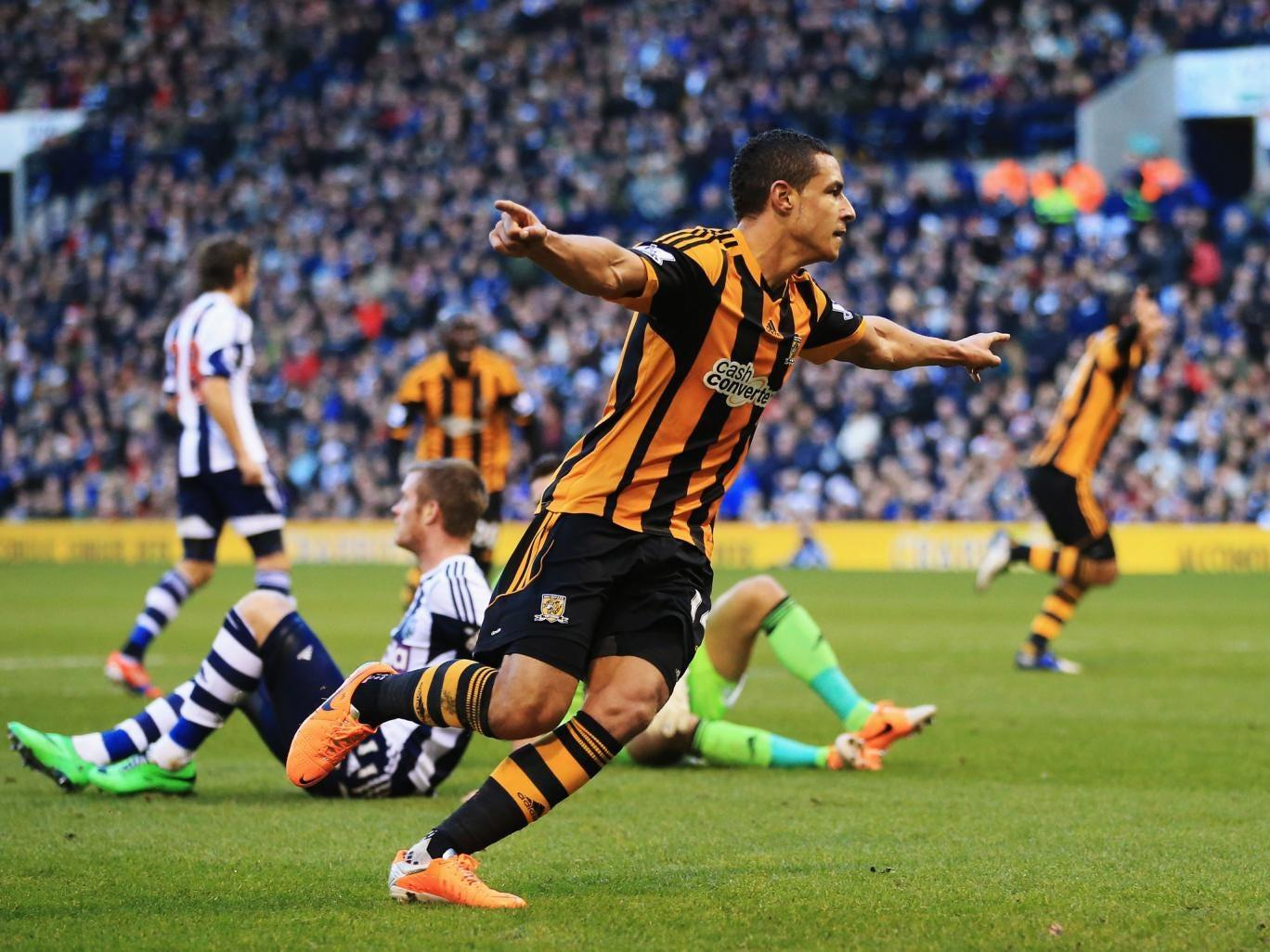 Jake Livermore of Hull City celebrates scoring