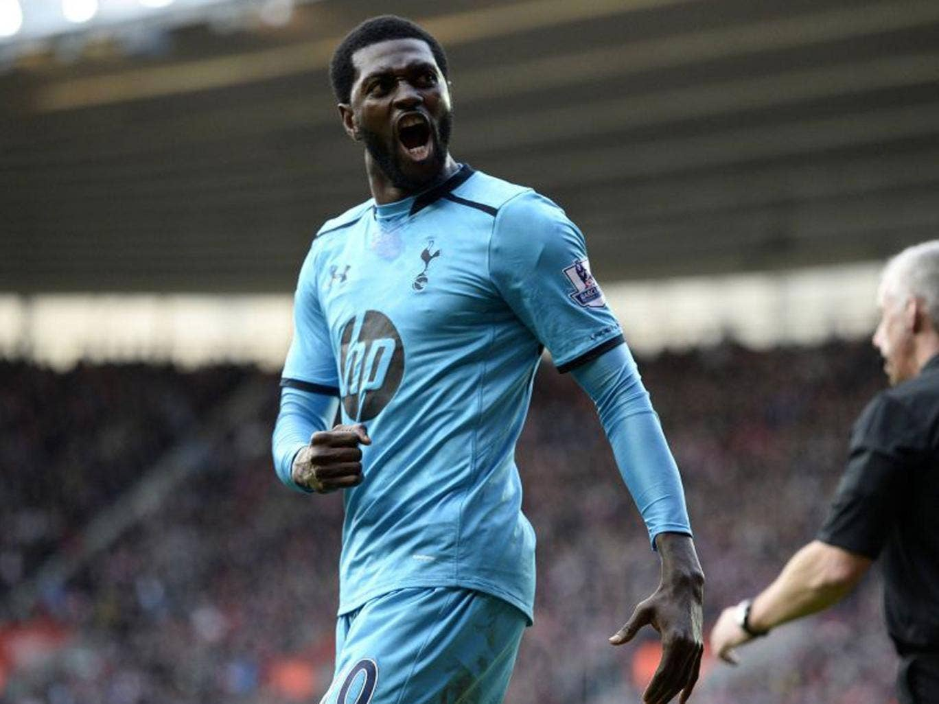 Emmanuel Adebayor celebrates his second goal against Southampton