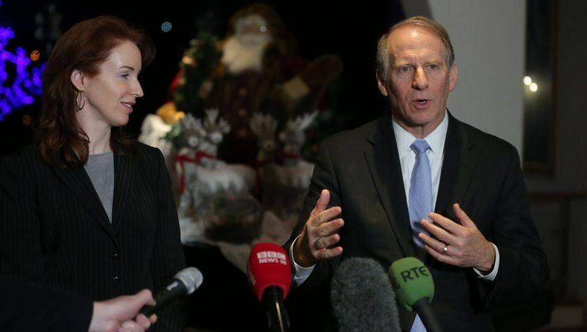 Dr Richard Haass and Harvard professor Meghan O'Sullivan, talk to the media outside the Stormont Hotel Belfast