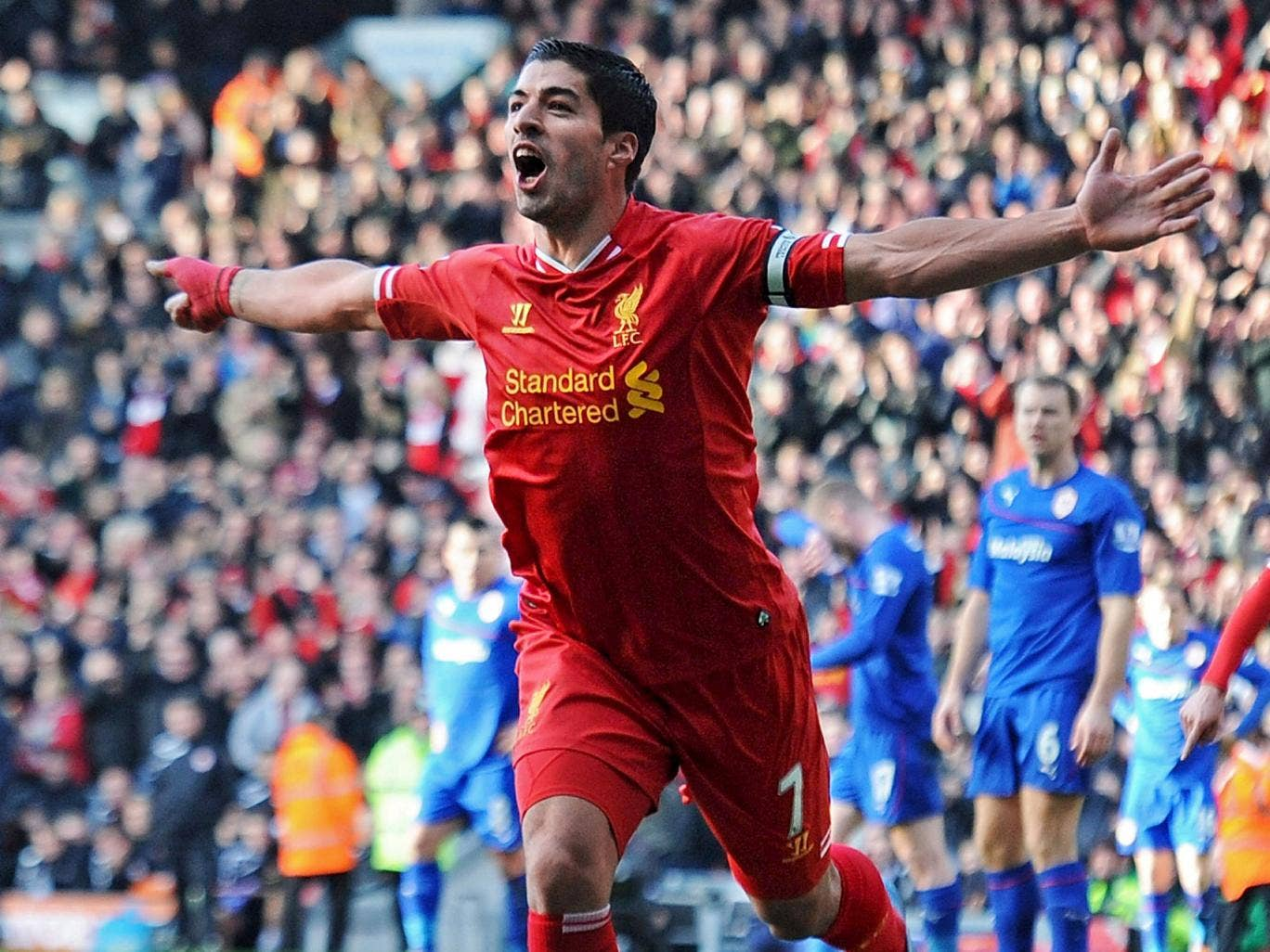 Luis Suarez faces Manchester City today having scored 19 Premier League goals in just 12 games for Liverpool this season