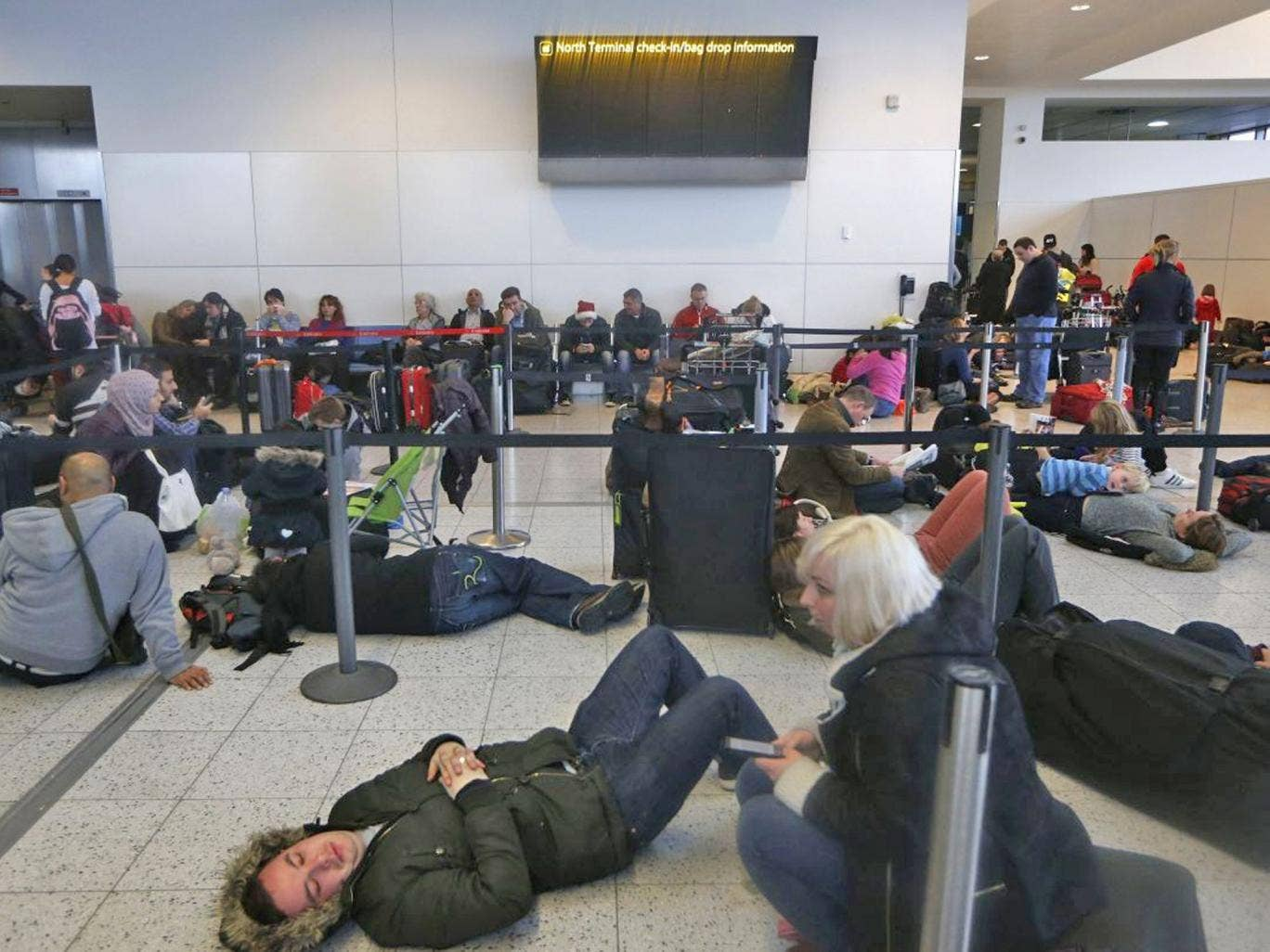 Many flights were cancelled at Gatwick after a power outage caused by flooding
