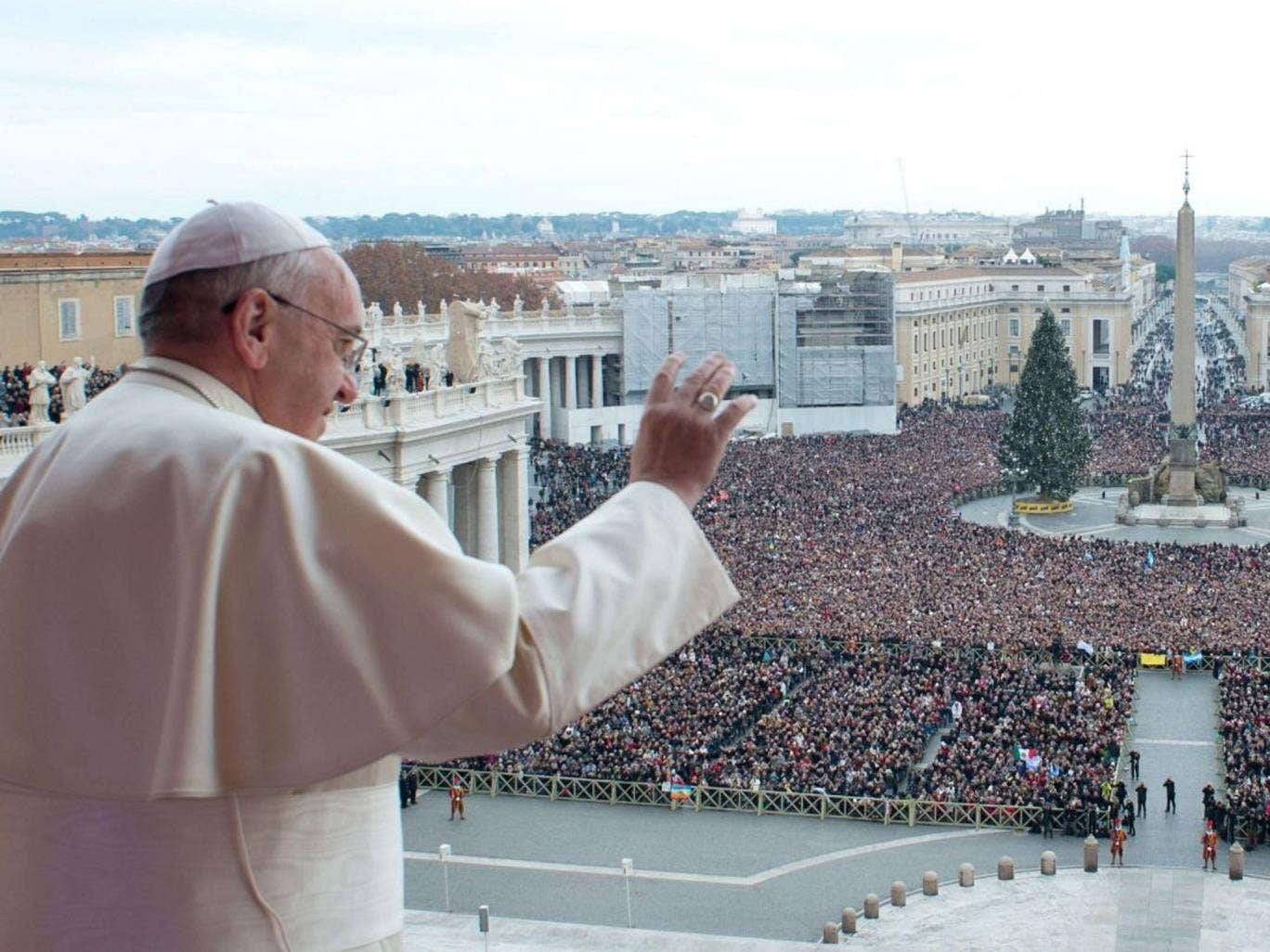 Pope Francis delivers his first 'Urbi et Orbi' (to the city and world) message from the balcony overlooking St. Peter's Square at the Vatican