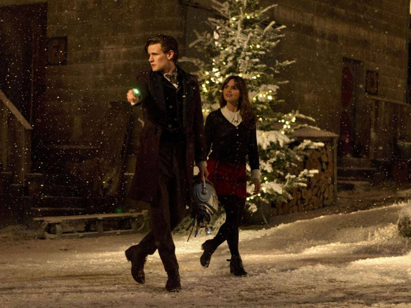 Matt Smith and Jenna Coleman as the Doctor and his assistant in last night's Christmas sci-fi spectacular