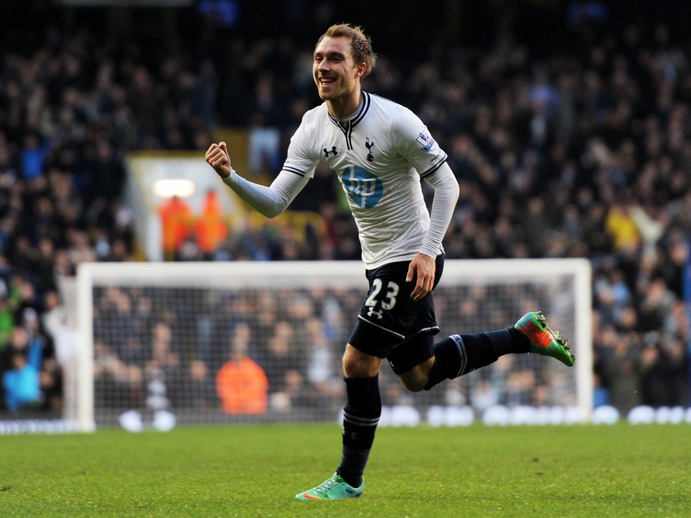 Christian Eriksen celebrates after scoring for Tottenham against West Brom