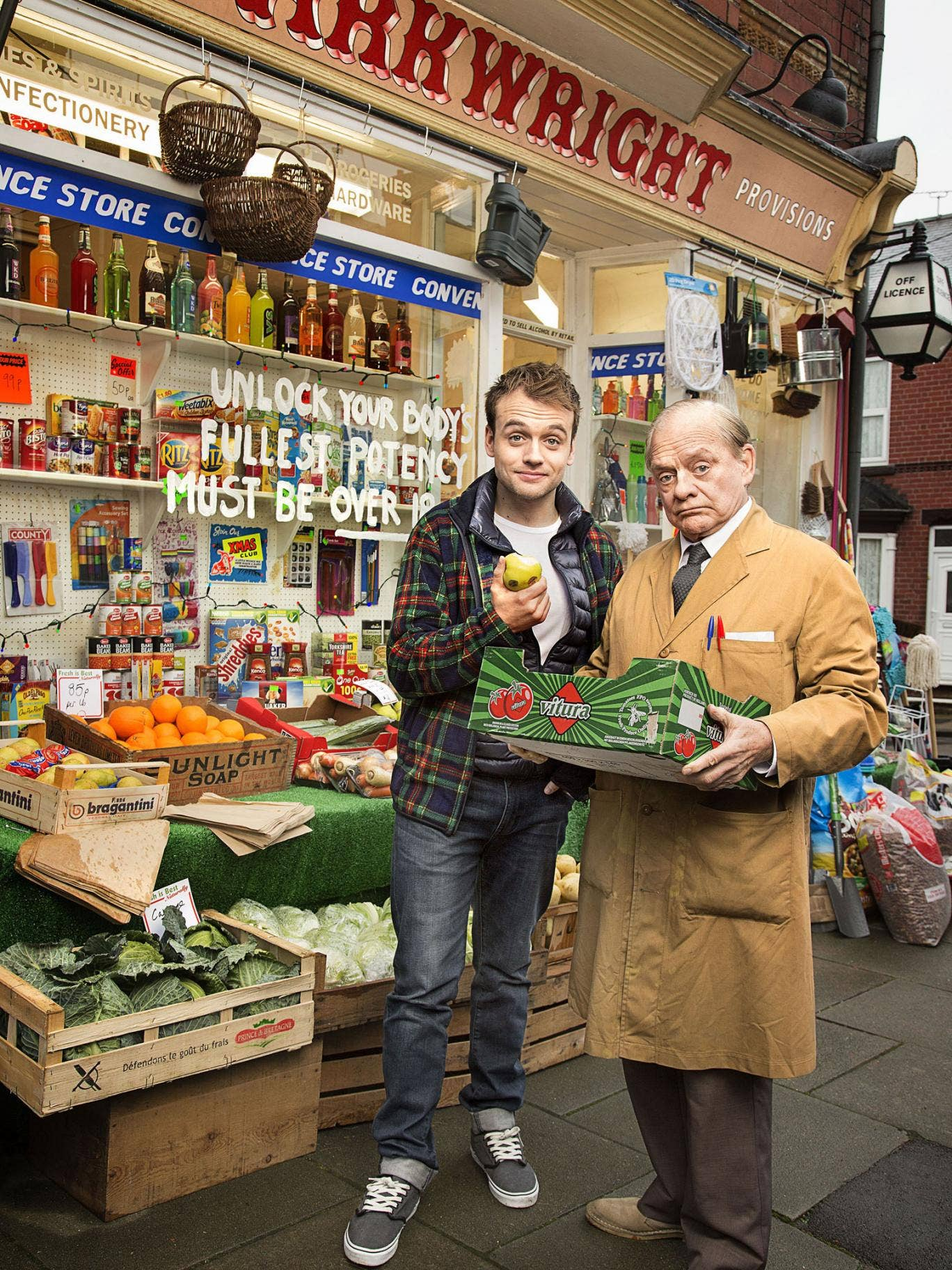Granville (David Jason) runs the shop with his son Leroy (James Baxter) in 'Still Open All Hours'