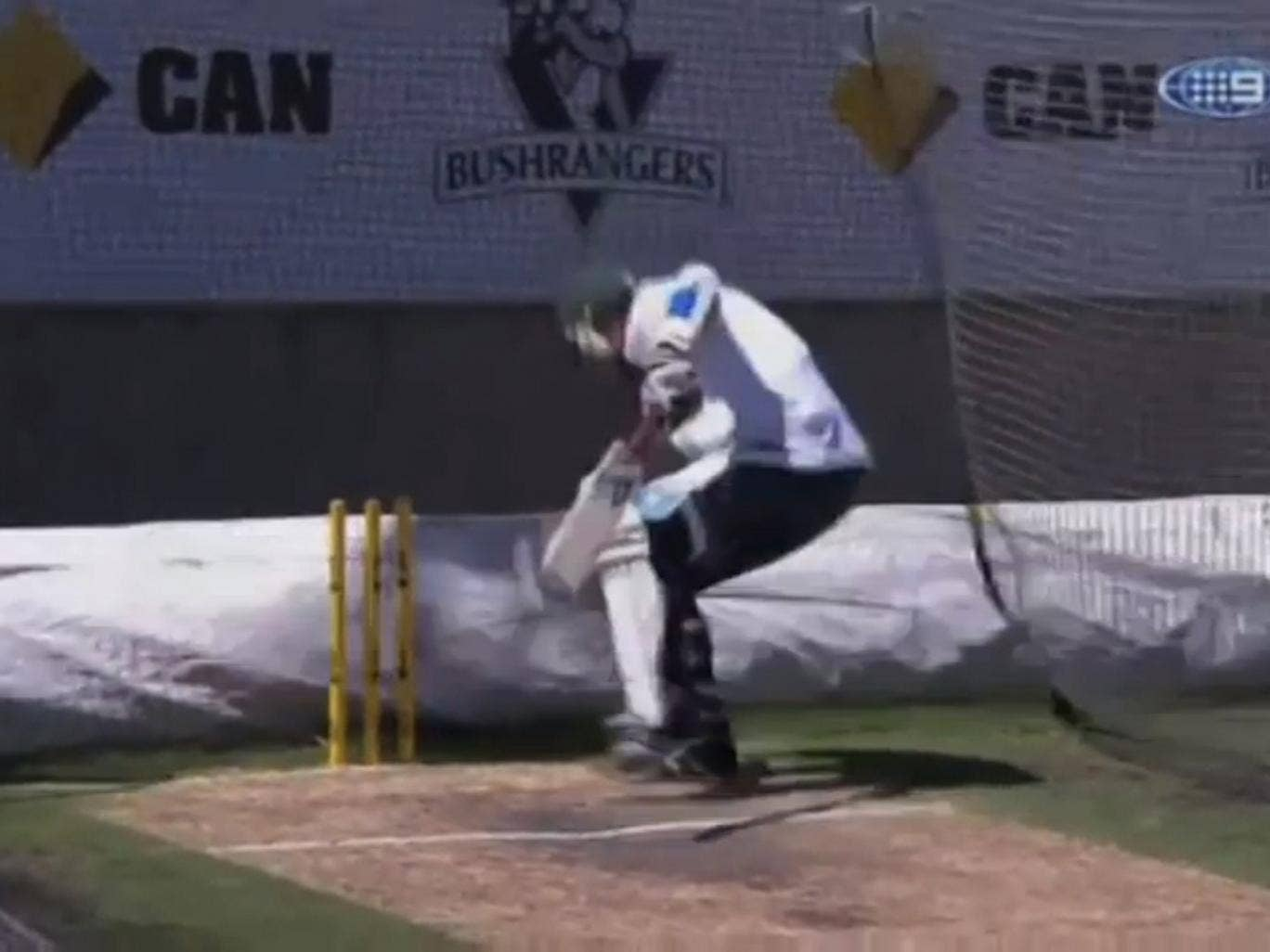 Piers Morgan attempts to avoid a Brett Lee bouncer aimed at his head, with little success