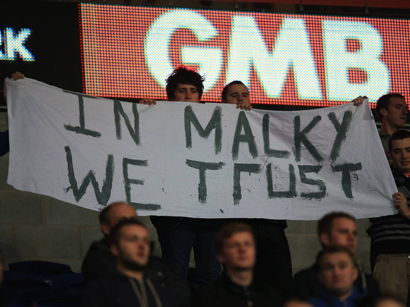 Cardiff City fans show their support for manager Malky Mackay during the Boxing Day defeat to Southampton